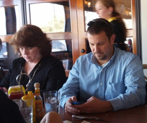 Lori and David - At lunch and on phones